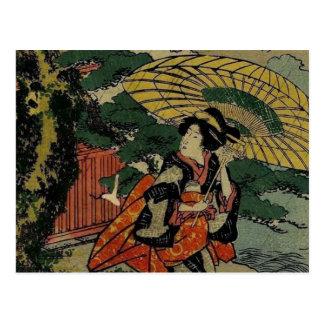 woman With Umbrella Walking In The Rain Postcard