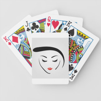 woman with vintage hairstyle and make up bicycle playing cards