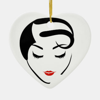 woman with vintage hairstyle and make up ceramic ornament