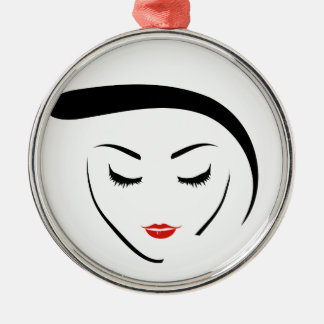 woman with vintage hairstyle and make up metal ornament