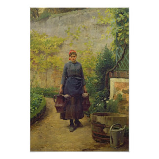 Woman with Watering Cans Poster