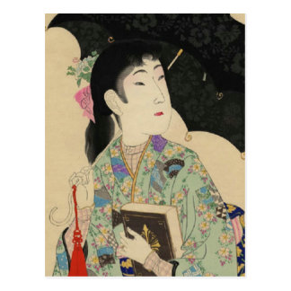 Woman with Western-style umbrella and book Postcard