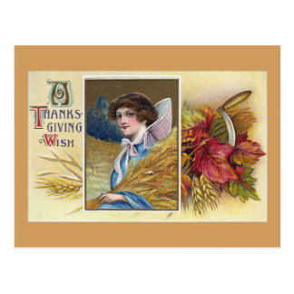 Woman with Wheat Vintage Thanksgiving Postcard