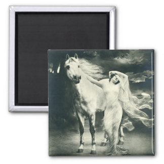 Woman with white horse. 2 inch square magnet