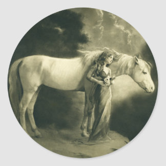 Woman with white horse. classic round sticker