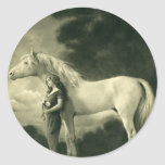 Woman with white horse classic round sticker