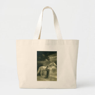 Woman with white horse. large tote bag