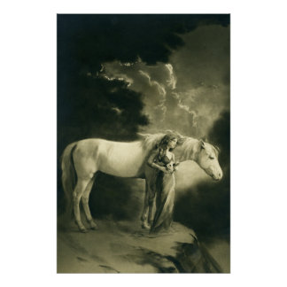Woman with white horse. poster