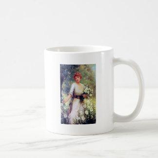 Woman with White Lilies painting Coffee Mug