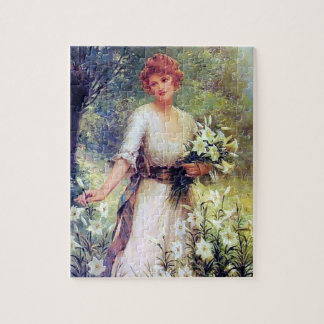 Woman with White Lilies painting Puzzle