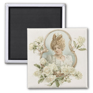 Woman with White Roses Magnet
