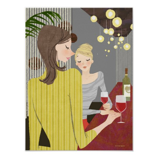Woman with Wine Poster