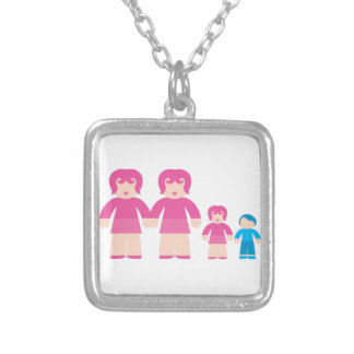 Woman Woman and children Silver Plated Necklace