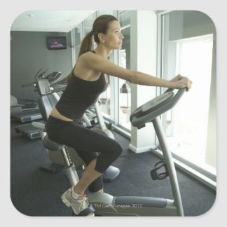 Woman working out in a gym 3 square sticker