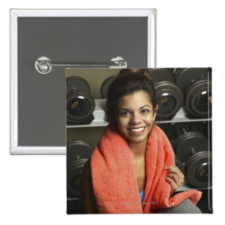 Woman working out pinback button