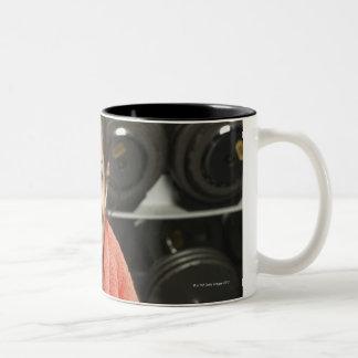 Woman working out Two-Tone coffee mug