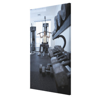 Woman working out with weights 2 canvas print