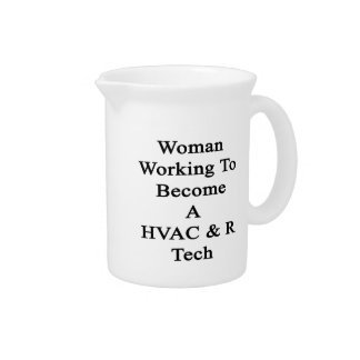 Woman Working To Become A HVAC R Tech Drink Pitcher