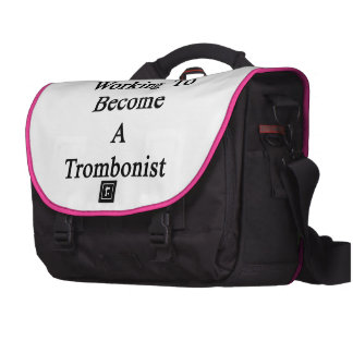 Woman Working To Become A Trombonist. Laptop Computer Bag