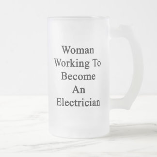 Woman Working To Become An Electrician Beer Mug
