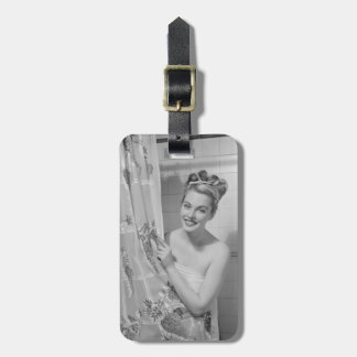 Woman Wrapped Up Bag Tag