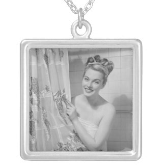 Woman Wrapped Up Silver Plated Necklace