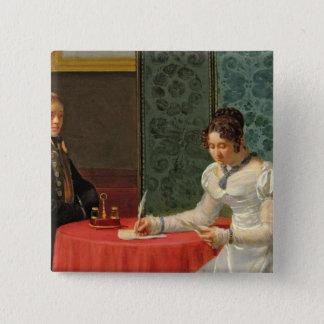 Woman Writing a Letter Pinback Button