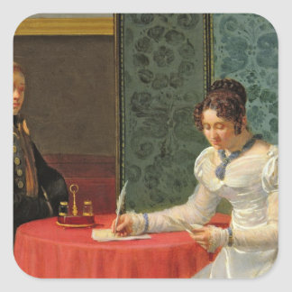 Woman Writing a Letter Square Sticker
