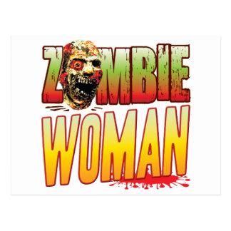 Woman Zombie Head Postcard