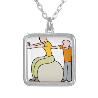 Womand stretching with her trainer square pendant necklace