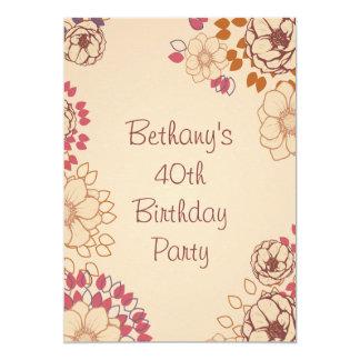 "Woman's 40th Birthday Cute Modern Floral 5"" X 7"" Invitation Card"