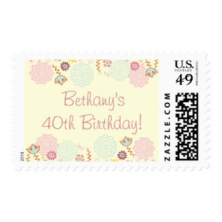 Woman's 40th Birthday Fancy Modern Floral Postage