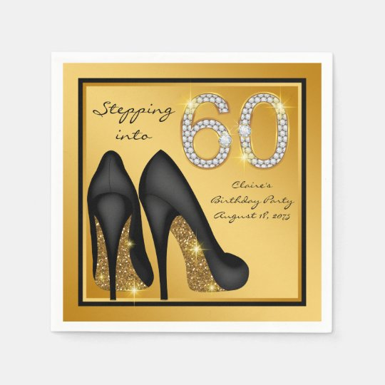 60th Birthday Color Ideas: Womans 60th Birthday Party Napkin