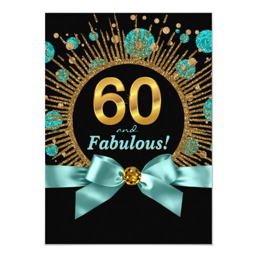 Womans 60th Birthday Teal Blue and Gold Card | Zazzle