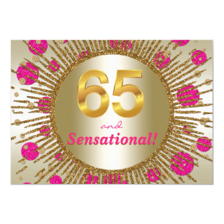 Womans 65th Birthday Party Fuchsia Pink Gold Card
