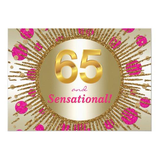 Womans 65th Birthday Party Fuchsia Pink Gold Invitation