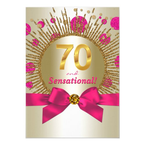Womans 70th Birthday Party Fuchsia Gold Card