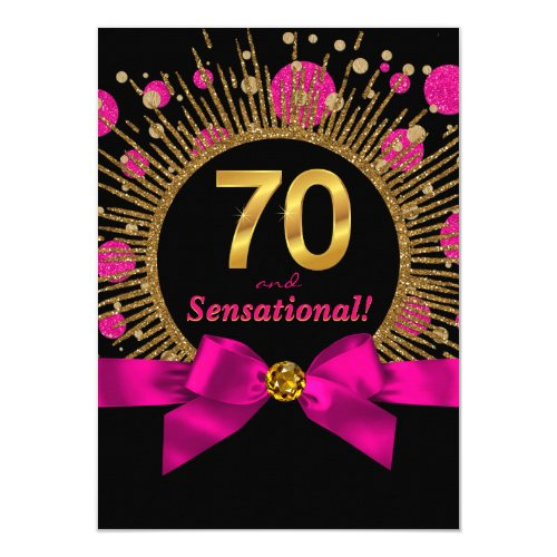 Womans 70th Birthday Party Hot Pink and Gold Card