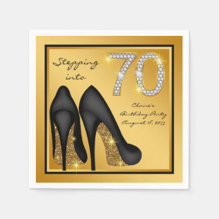 Womans 70th Birthday Party Napkin at Zazzle