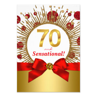 Womans 70th Birthday Party Red and Gold Card