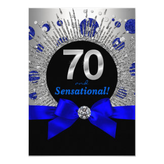 Womans 70th Birthday Party Royal Blue and Silver Card