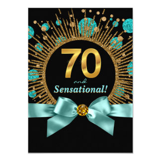 Womans 70th Birthday Party Teal Blue and Gold 4.5x6.25 Paper Invitation Card