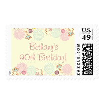 Woman's 90th Birthday Fancy Modern Floral Postage