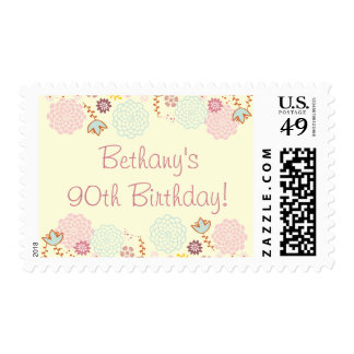Woman's 90th Birthday Fancy Modern Floral Postage Stamp