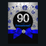 "Womans 90th Birthday Party Royal Blue and Silver Invitation<br><div class=""desc"">Woman's royal blue and silver ninetieth birthday party invitation with royal blue and silver glitter dots and star burst. This beautiful silver and blue birthday party invitation is easily customized for your event by simply adding your details in the font style and color and wording of your choice. This is...</div>"