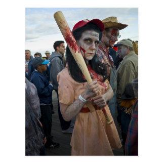 Woman's Baseball Zombie Postcard