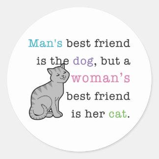 Woman's Best Friend - Her Cat Classic Round Sticker
