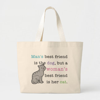 Woman's Best Friend - Her Cat Large Tote Bag
