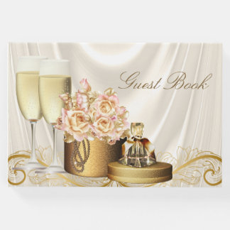 Womans Birthday Party Guest Book Ivory Gold