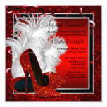 Womans Black and Red High Heels Birthday Party 5.25x5.25 Square Paper Invitation Card